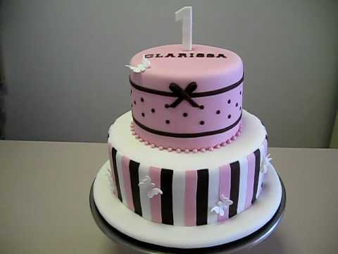 Choc White Pink Girls First Birthday Cake YouTube
