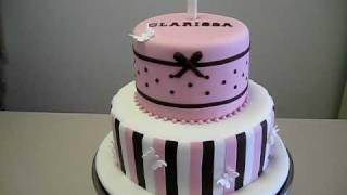 Choc/ White/ Pink - Girls First Birthday Cake