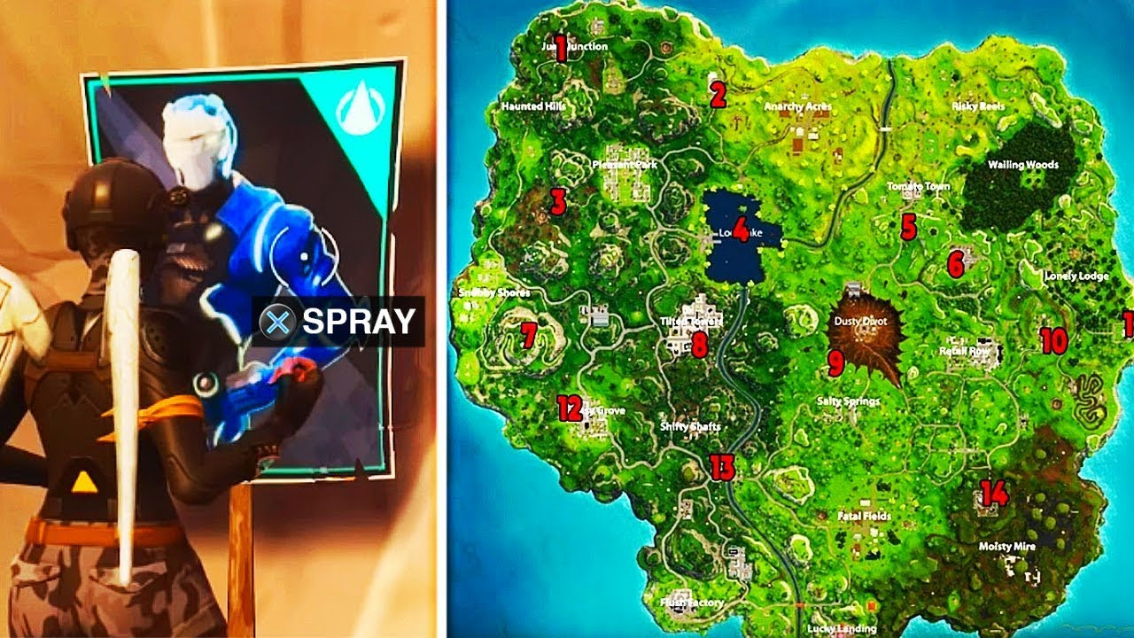 Spray Paint Over Omega Posters Fortnite Spray Over Different Carbide Or Omega Posters All Locations Map Fortnite Week 6 Challenges Youtube