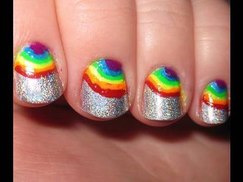 Rainbow Holographic Nails Review Of Migi Nail Art Pens Youtube