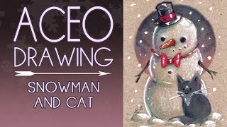 ACEO - Snowman and cat
