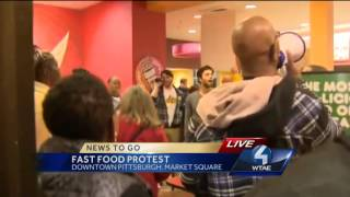 Protest held inside Dunkin