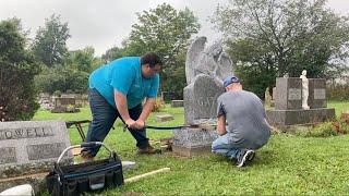 Setting a beautiful angel headstone