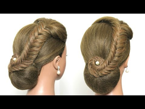 simple-bun-hairstyle-with-braid-for-party
