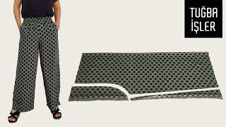Как сшить широкие летние брюки и сделать выкройку Очень легкий способ Tuğba İşler