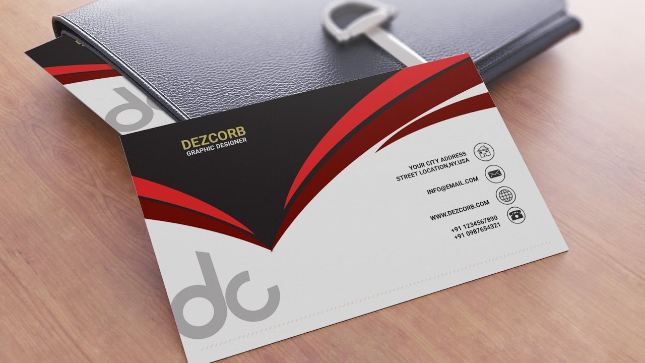 Business card design in photoshop cs6 | Back | Red | Gray | White ...