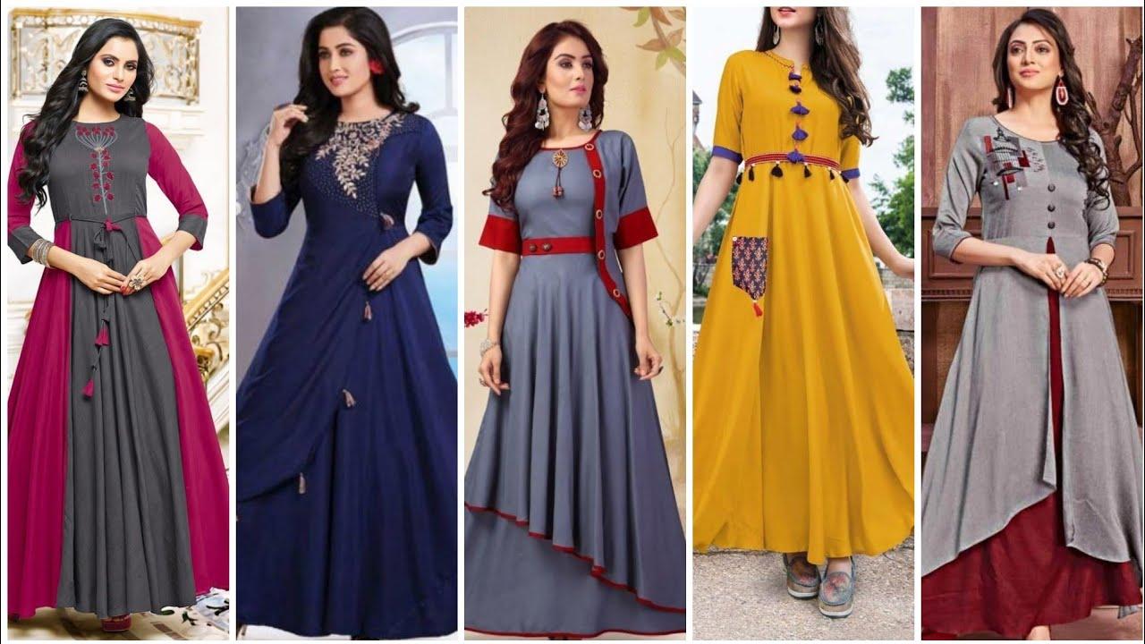 Trending designer comfortable long gown tyipe dresses for girls - YouTube