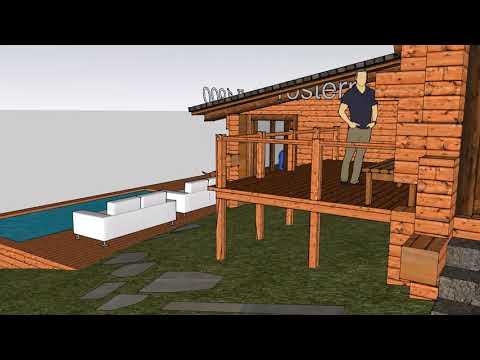 Деревянный дом с бассейном на холме#строительство#дом #проектдома