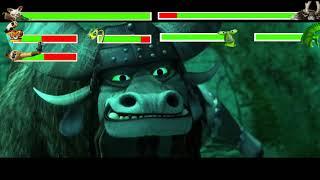 Shifu, Tigress, Monkey, Viper vs Kai, Jade Crane & Jade Mantis with healthbars