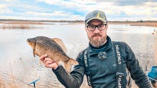 Ловля КРУПНОГО карася на фидер весной Вкусный обед на рыбалке