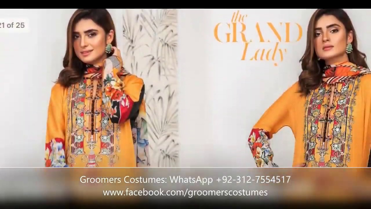 Gulkari Mushq Lawn: Branded Original: 3piece Suit: Women Clothing