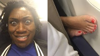 Woman Shock With Airplane Passengers Foot Next to Her | Fails of The Week 2020