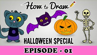 How To Draw A Halloween Pumpkin, Cat, Bat& Skeleton- Halloween Special Episode-Drawing Tutorial Kids(Download the Free Halloween Dressup App: https://itunes.apple.com/us/app/halloween-dress-up-for-kids/id1050656915?mt=8 How To Draw A Halloween ..., 2015-10-20T12:21:27.000Z)