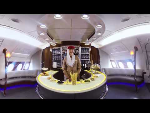 Emirates A380 Onboard Lounge | 360-video !