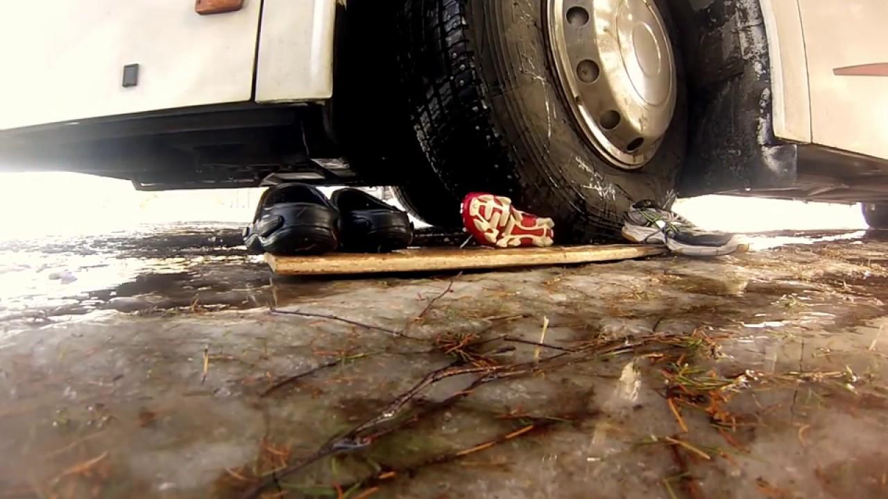 Fetish crush under car wheels