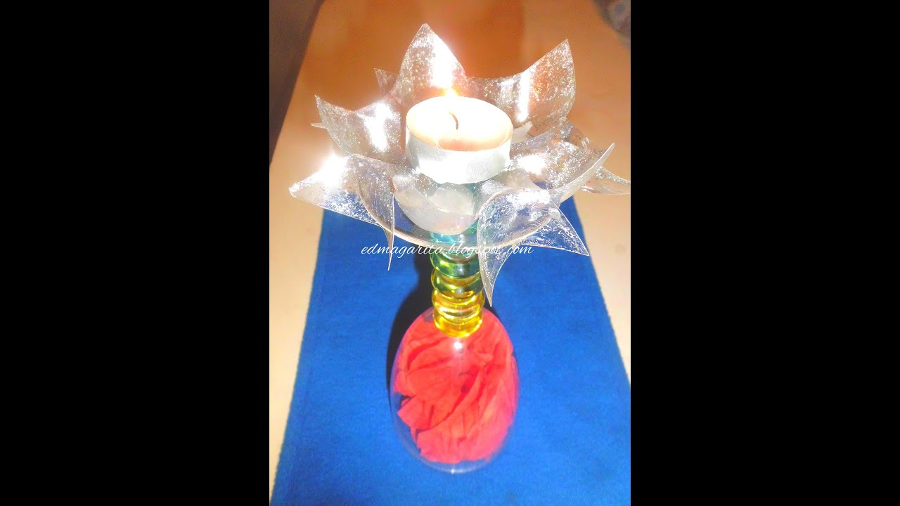 Tutorial centro de mesa con copa flores de papel y - Centros de mesa con botellas ...