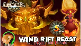 SUMMONERS WAR : S Rank Wind Rift Beast w/Kahli & Friends