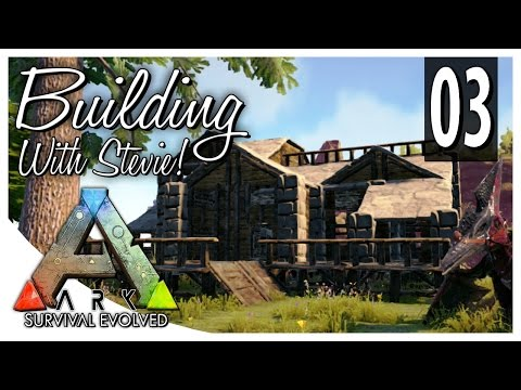 ARK: Building With Stevie! - Wood / Stone Cliff-side Cabin Build Tutorial! [EP. 03]