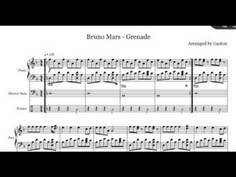 Grenade Bruno Mars.. (Piano Drums & Bass) Free Music Sheet!