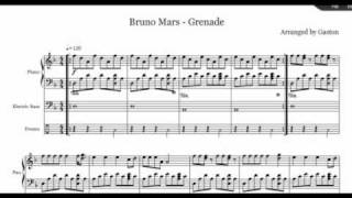 Grenade Bruno Mars.. (Piano Drums & Bass) Free Music Sheet!