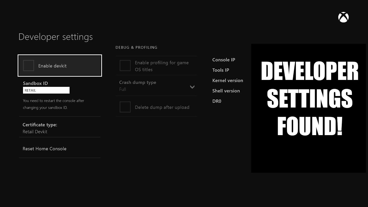 Xbox One How To Access Developer Settings YouTube