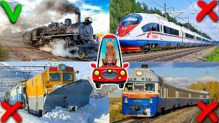 Поезда для Детей. Изучаем Железнодорожный Транспорт. Развивающее Видео для Малышей