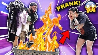 BURNING MY GIRLFRIENDS CLOTHES PRANK!!!