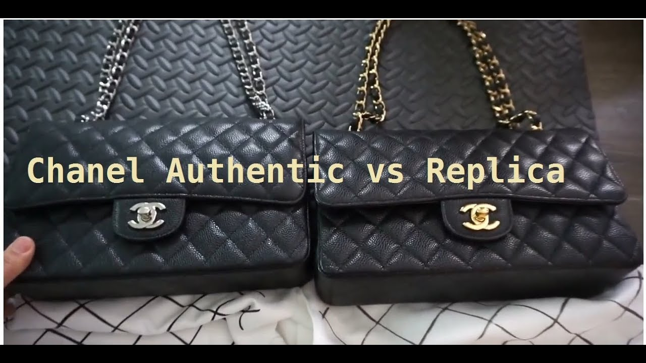 ea4a9bfd8170 Chanel Comparison. Authentic vs. Replica Medium flap 2.55 - YouTube