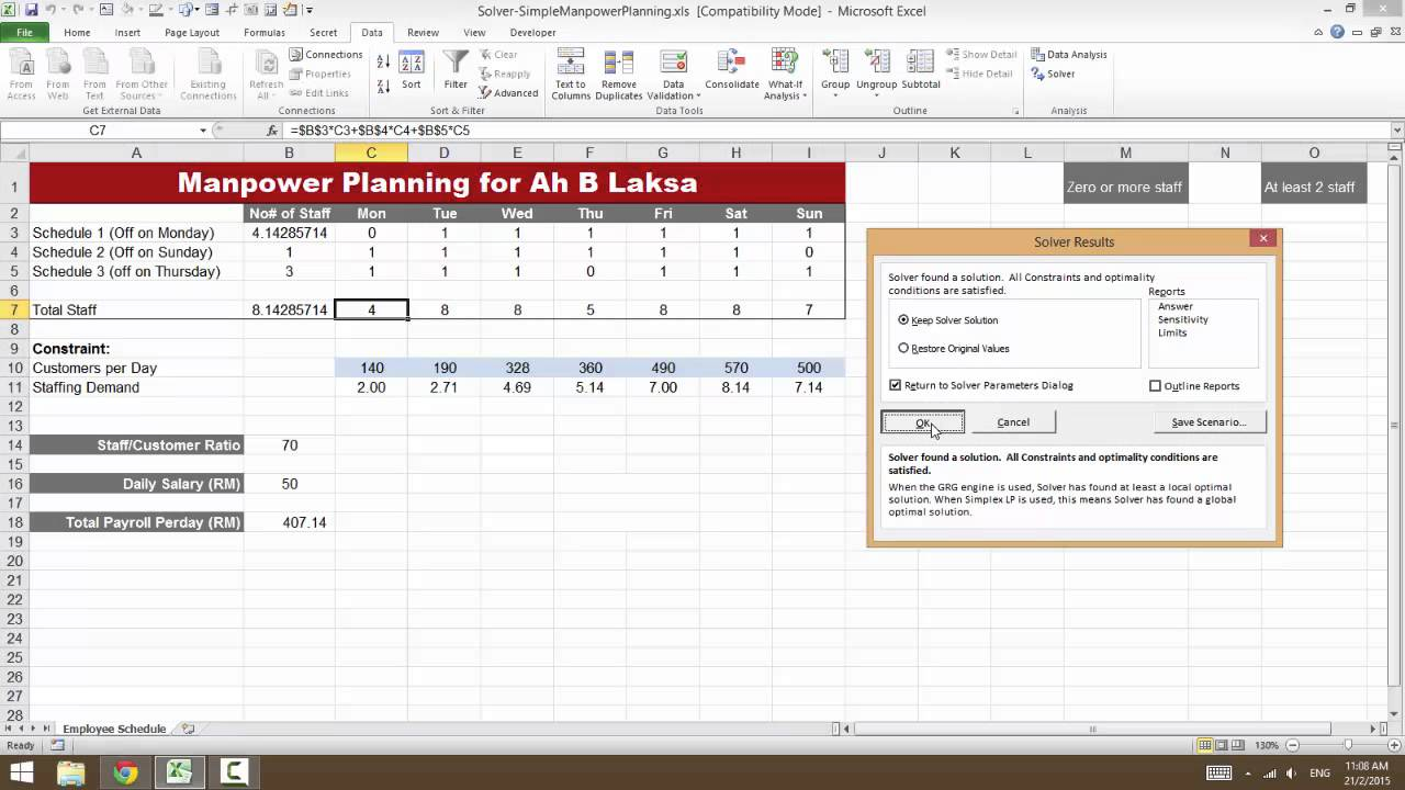 excel for hr manpower planning for a small restaurant using 2115 excel for hr manpower planning for a small restaurant using solver