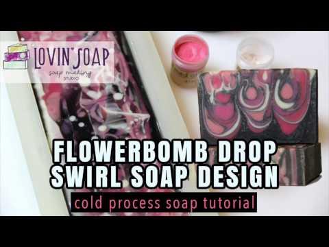 Soap Making Tutorial: Flowerbomb Cold Process Drop Swirl Soap Design   Lovin Soap Studio thumbnail