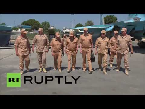 Syria: Russian DefMin Shoigu inspects Hmeymim Air Base near Latakia
