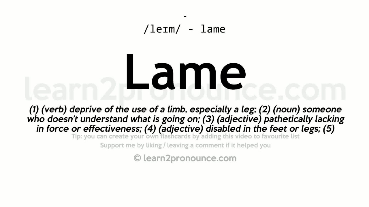 lame meaning in english
