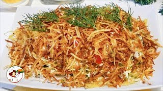 Салат «Муравейник» с колбасой и кукурузой - сытный и вкусный!