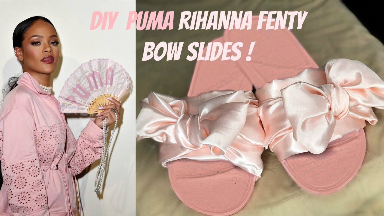 buy popular 34f9a 54519 DIY FENTY PUMA BOW SLIDES!! (PINK)