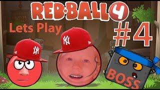 Играем в детскую игру Red Ball 4 Часть #4 Красный мячик встречается с Боссом Злым Квадратом