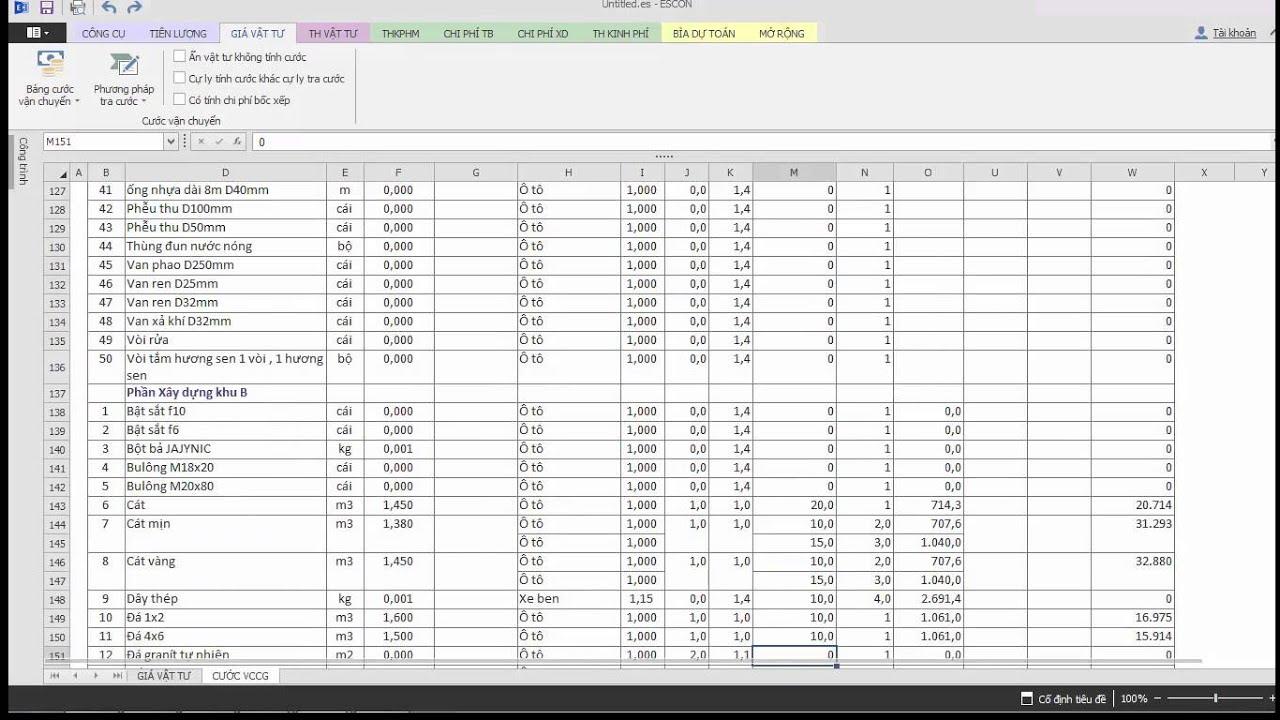 Phần mềm dự toán Escon – Hướng dẫn tính cước vận chuyển