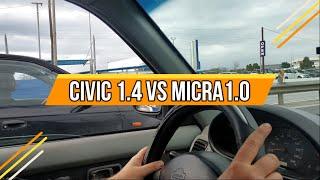 Εργατικό πάτημα! Honda civic 1.4 vs Nissan Micra 1.0
