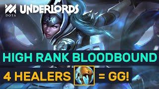 High Rank Bloodbound Luna Build! 4 Knights 4 Healers + 4 Warlocks! | Dota Underlords