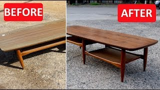Mid Century Furniture Refinish / Replace Laminate Top With Walnut Veneer