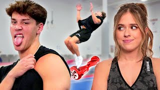 Noah Beck Tries HOVERBOARD GYMNASTICS w/ Kelianne Stankus and BACKFLIPS?! | AwesomenessTV
