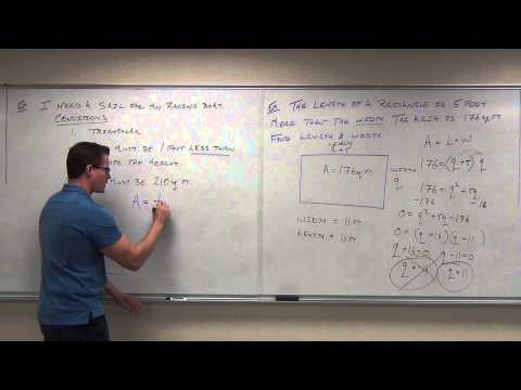 Intermediate Algebra Lecture 6.7:  Using Factoring to Solve Word/Application Problems