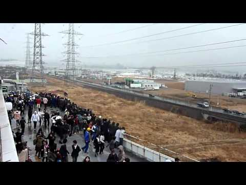 New video of Tsunami invading the Port of Sendai #1 [stabilized] - Japan earthquake 2011