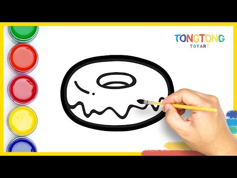 How to draw Glitter Cute Donuts Drawing Coloring for Kids