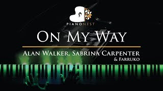 Gambar cover Alan Walker, Sabrina Carpenter & Farruko - On My Way - Piano Karaoke / Sing Along Cover with Lyrics