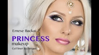 FAIRY-TAIL PRINCESS BRIDAL MAKEUP in GOLD & VIOLET TONES with gel liner technique by Emese Backai