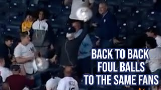 Back to back foul balls to the same fans, a breakdown