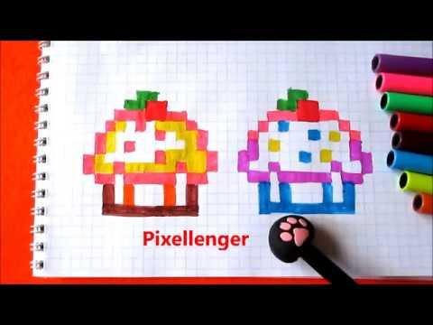 Как нарисовать Очень Маленький Кекс по клеточкам в тетради Пиксель Арт