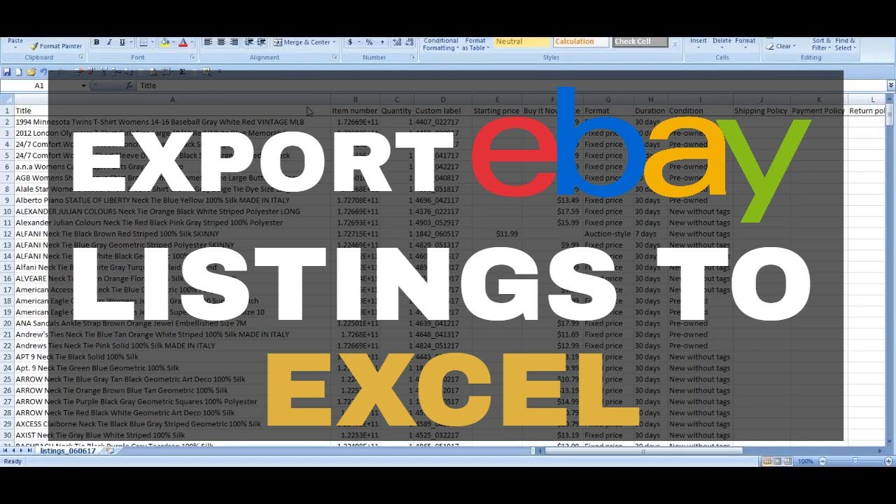 How to Export eBay Listings to Excel CSV - YouTube
