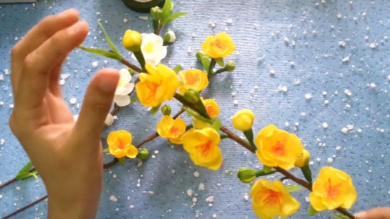 Hướng dẫn Cách làm hoa mai từ giấy nhún – Apricot blossom paper flowers | Dzung Mac