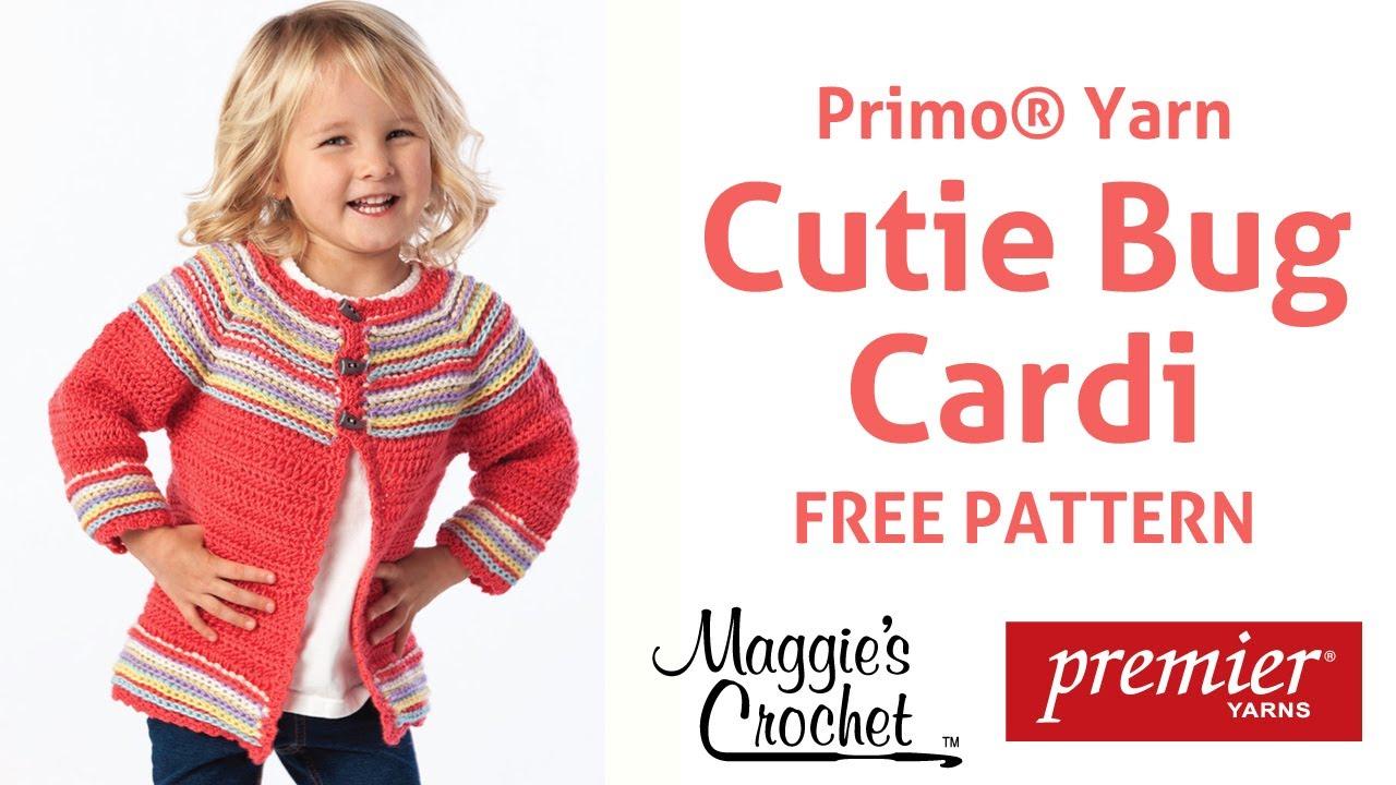 65578dc80edc Primo Yarn Child s Cutie Bug Cardi Sweater Free Crochet Pattern ...